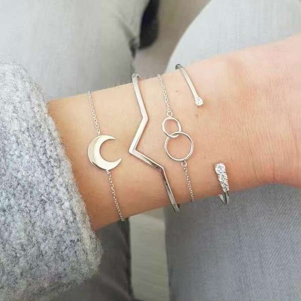 new jewelry fashion open adjustable v-shaped inlay rhinestone bangle simple moon size circle bracelet 4 piece set