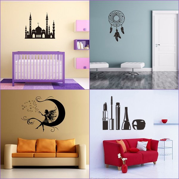 Black Fashion Decorative Painting Sticker Removable PVC Wall Stickers Home  Art Mural For Living Room Bedroom TV Wall Decoration Decorative Wall ...