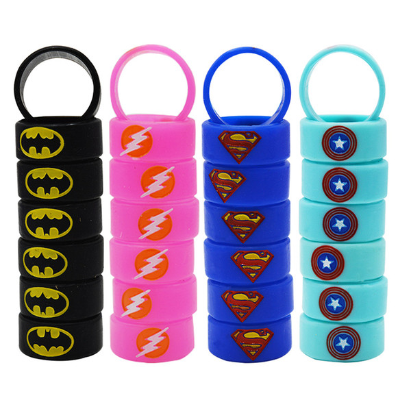 Vape Band Ecig Silicone Rings Engraved with Superman Flash Captain America Batman Logo Colorful Rubber Rings fit RDA RTA Atomizer Mods