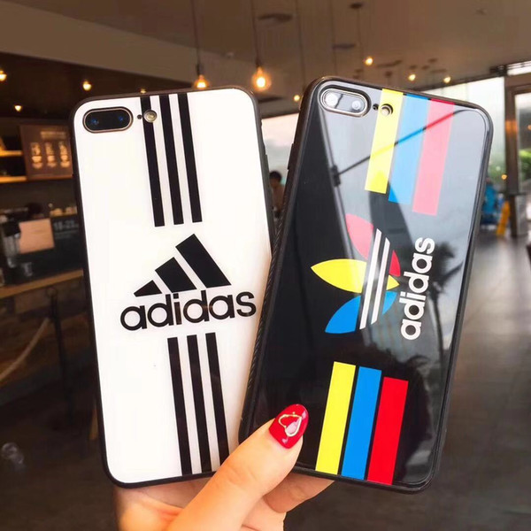 Für iphone xs max xr 8 6 6s 7 plus glas bunte blatt designer case luxus 9 h härte gehärtetes glas glänzend telefon marke rückseitige abdeckung a02