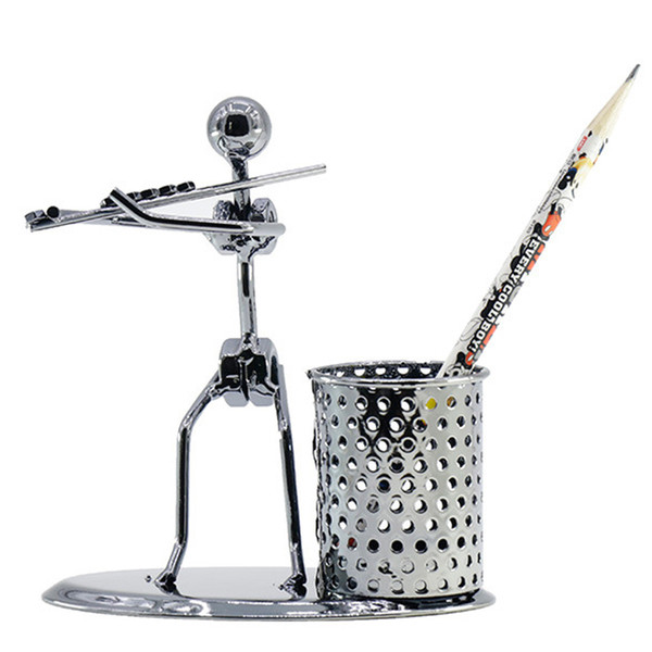 top popular Pen Container Holder Pencil Cup Iron Art Music Figure Home Office Desk Storage Decor Gift 2021