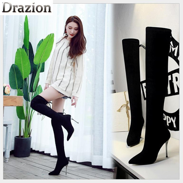 European and American style simple boots super high-heeled suede sexy nightclub is pedicure over the knee boots