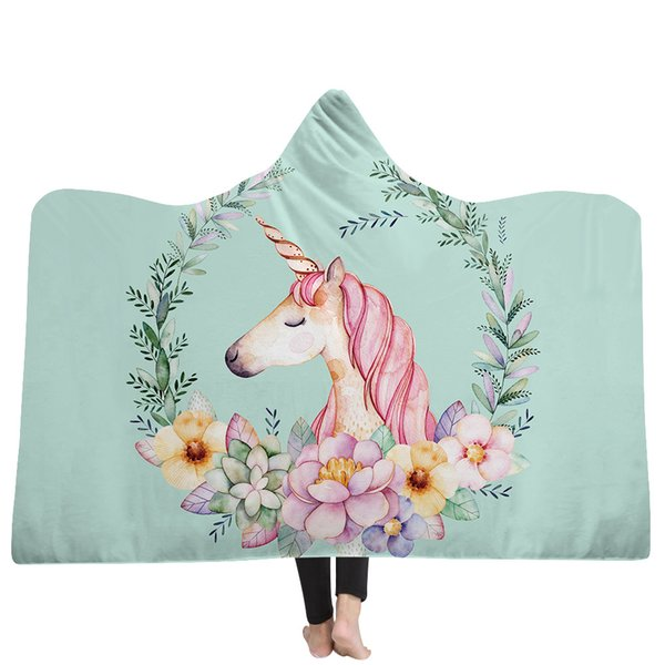39 Styles Cartoon Unicorn 3D Printed Plush Hooded Blanket for Beds Warm Wearable Soft Fleece Throw Blankets Dropshipping