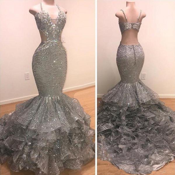 Sexy con encanto lentejuelas grises sirena vestidos de baile 2019 correas espaguetis piso sin espalda hasta el final vestidos de fiesta de noche Vintage Wear