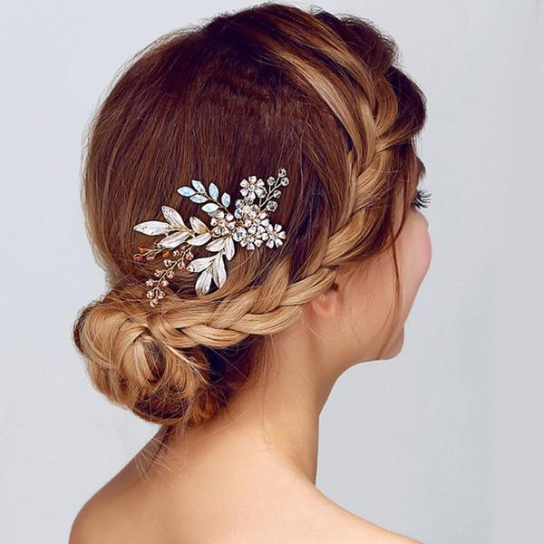 1Pc Fashion Bridal Crystal Hair Comb Hair Clip Pins Wedding Party Gold Flower Headpiece Hairwear Jewelry