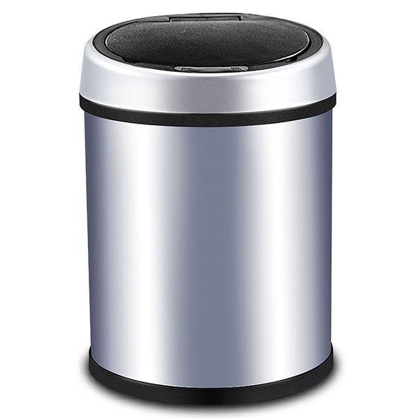 Small Automatic Trash Can Touchless Intelligent Induction Garbage Bin With Inner Bucket Contactless Circulator Quiet Lid Close Can Silver