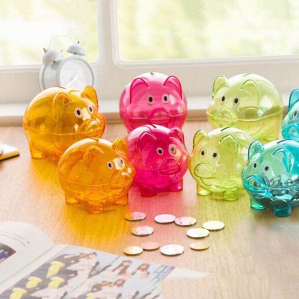 Nouveau Transparent En Plastique Économiser De L'argent Boîte Case Pièces Dessin Animé Cochon En Forme de Tirelire Cash Pièce Coin Tirelire Enfant cadeau