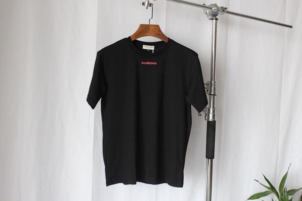 19ss Summer New Вышитая розовая футболка с коротким рукавом, Хлопок-ткань из шелкового льда, Вышивка с обратным наклоном, Футболка для улицы