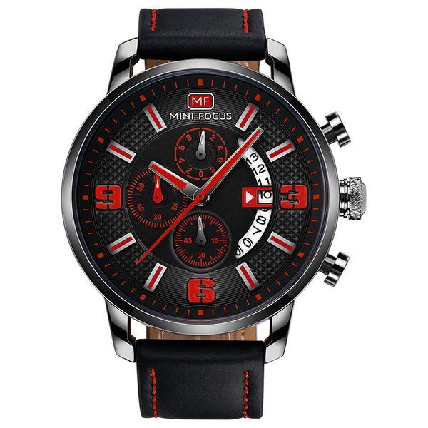 Hot Men Designer Wrist Watches Quartz Movement 43.5mm Dial Leather Belt 30m Waterproof Complete Calendar Stopwatch Three-Pin Mens Watch