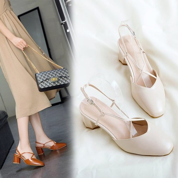 Sexy2019 Pattern Women's Baotou Sandals Restore Ancient Ways Crossing Bandage Coarse With Square Joker High-heeled Shoes Generation Hair