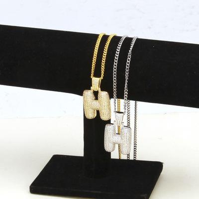 Fashion Hip Hop Designer Necklace A To Z Silver Initial Letter Necklace Rhinestone Pendant Women Mens Necklace Hot Sale