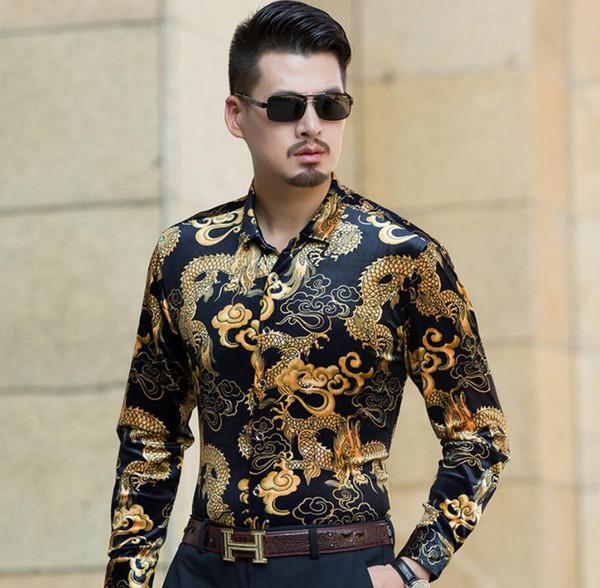T-shirt da uomo con catena a forma di drago cinese a manica lunga da uomo di alta qualità