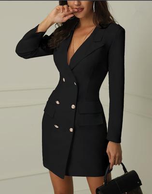 Vestido de chaqueta de doble botonadura para mujer 2019 Nueva llegada Breve Vestidos de cercanías Sexy para mujer Color sólido Vestido con cuello en V Talla S-XL