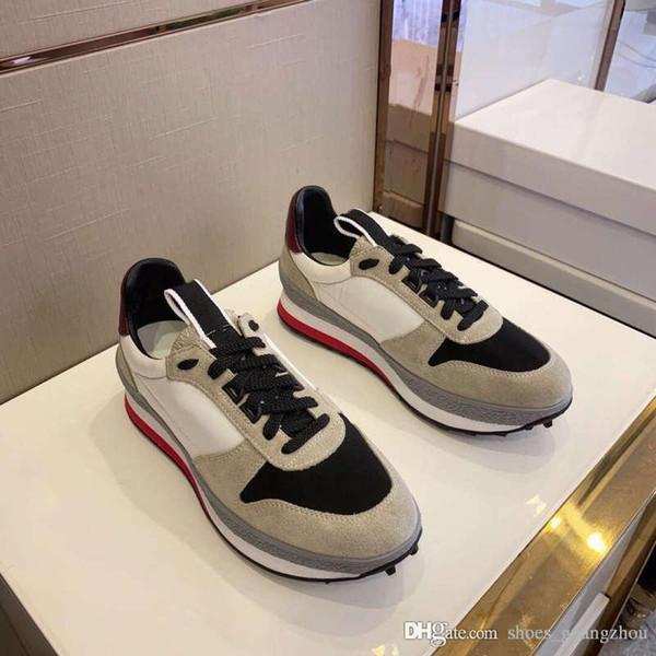 Clássico Running Calçados Esportivos com Respirável Malha Outter Sole, Sapatilhas De Couro Flats Formadores para Homens Da Moda Tamanho 38-45