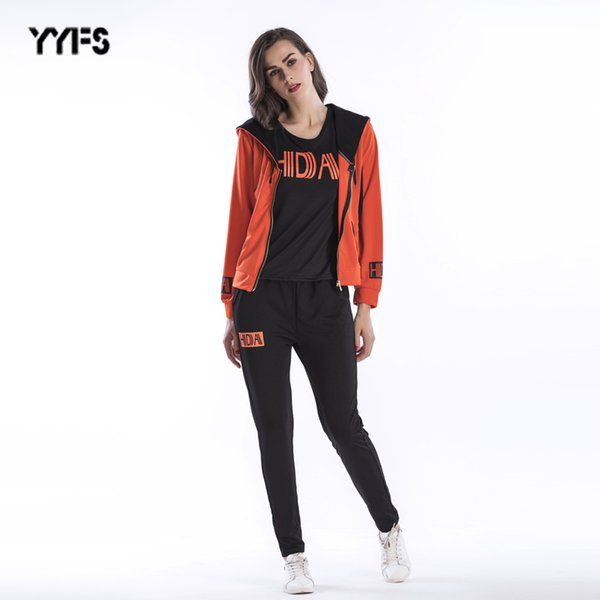 2019 autumn and winter new ladies suit fashion female sports suit three-piece letter printed jacket trousers suit