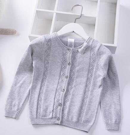 2019 Spring Autumn Girls princess Sweaters cute Bow summer Kids Hollow Coat Children Cotton Clothing Baby Knitted cardigan 2-8y