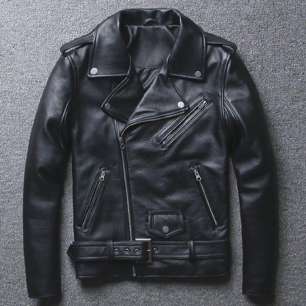 2019 Fashion Genuine Leather Jacket Men Diagonal Zipper Motorcycle Clothing Youth Slim Fit Cowhide Turn-Down Collar Leather Coat