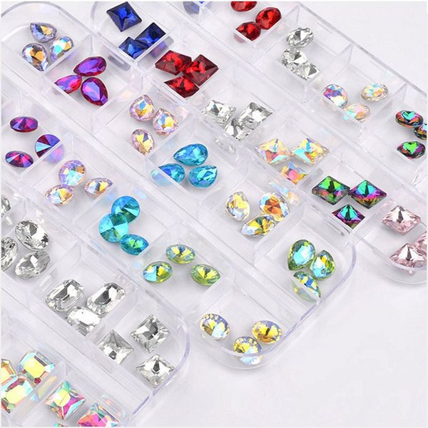 1 Box (About 36Pcs) Mix Horse Eye Tear Drop Point Back Chaton Rhinestones Jewelry Crystal Gems for Nail Art Decorations 6 Types