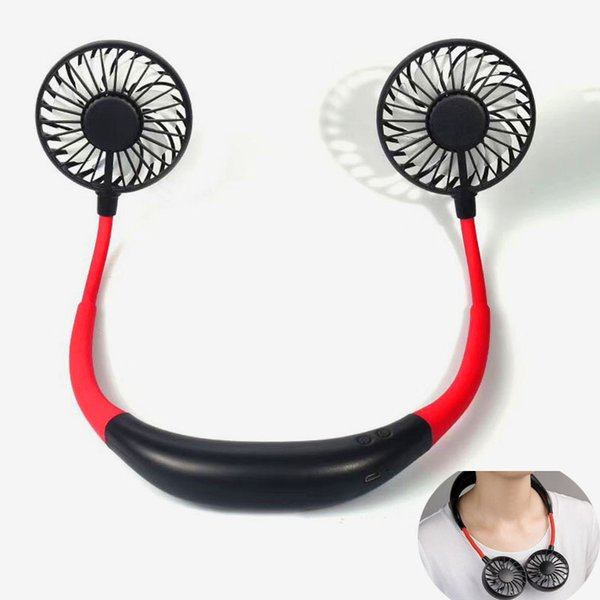best selling Portable USB Rechargeable Fan Hands-free Neck Hanging Lazy fan 360 dgree rotating Mini Sports Fan with Retail Box