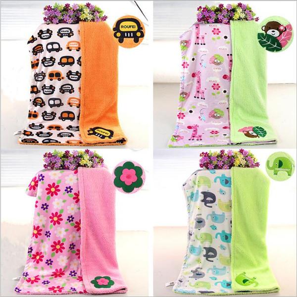 Baby Blankets Cartoon Embroidered Blanket Plush Fleece Throw Blanket Winter Swaddle Bedding Bathing Swaddling Car Sun Toys Blankets B5692