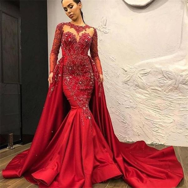 Abiti da sera rosso sirena vintage con treno staccabile perline cristalli applicati Celebrity abiti da ballo in raso manica lunga Robe de soiree