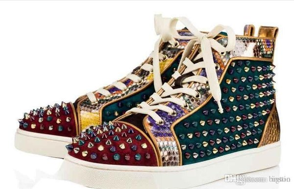 Mutil spikes Hi Top Studded Spikes Casual Flats Red Bottom Luxury Shoes New For Men and Women Party Designer Sneakers Lovers Genuine Leathe