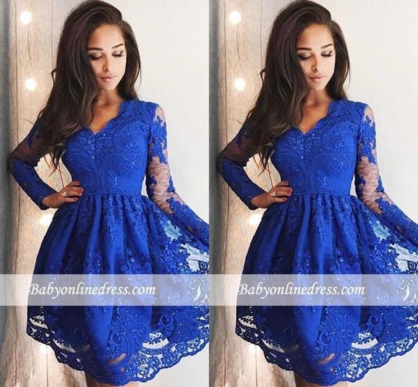Chic Royal Blue A Line Kurze Ballkleider 2019 V-Ausschnitt, lange Ärmel, kurze Cocktailkleider BC0037