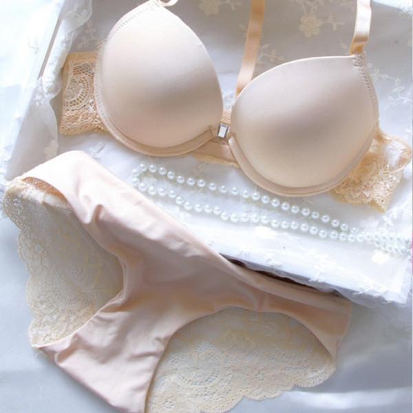 Сандерала глубокий V сексуальные женщины Push Up Y-line Лолита белье нижнее белье сплошной цвет женщины на косточках бесшовные бюстгальтер трусики наборы