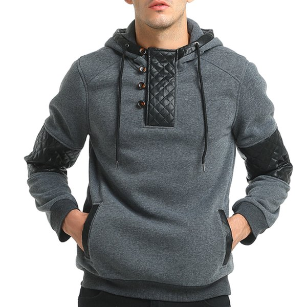 Brand 2019 Hoodie Patchwork Leather Hoodies Men Fashion Tracksuit Male Sweatshirt Hoody Mens Purpose Tour good quality