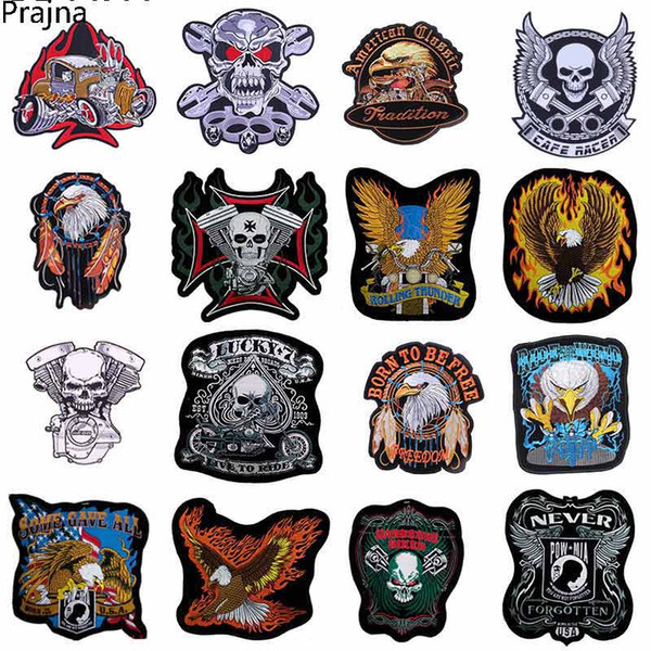 Prajna Skull Black Applique Clothes Large Embroidery Patch For Clothes Embroidered Punk Rock Patch Iron Biker Morale Stalk D