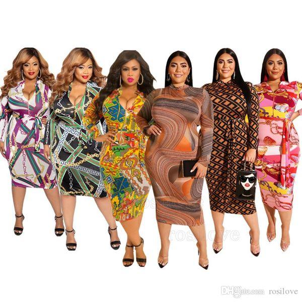 2019 mujeres del vestido del más-tamaño de la cadera vestido de manga larga impresa de la falda apretada del paquete atractivo de la manera del diseño del tirador Tanto antes como después del desgaste XL-5XL
