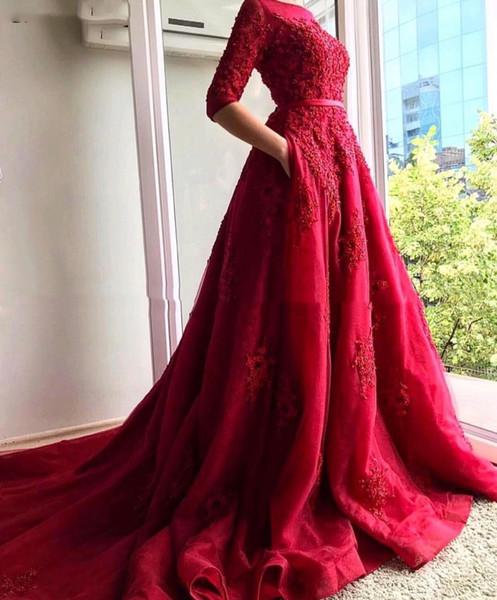 Eleganti 3/4 abiti a maniche lunghe di fidanzamento da sera rossi 2019 l'Arabia arabo caftano Dubai vestito convenzionale del partito nuziale