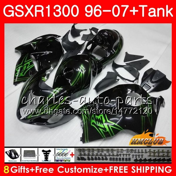 Body For SUZUKI Hayabusa GSXR 1300 GSXR1300 96 97 98 99 00 01 07 green black 24HC.115 GSX R1300 1996 1997 1998 1999 2000 2001 2007 Fairing