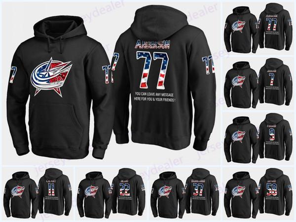 Custom Columbus Blue Jackets Drapeau des États-Unis Noir Sweat à capuche maillots 77 Josh Anderson 17 Brandon Dubinsky 91 Duclair Josh Anderson Hoodies Sweats