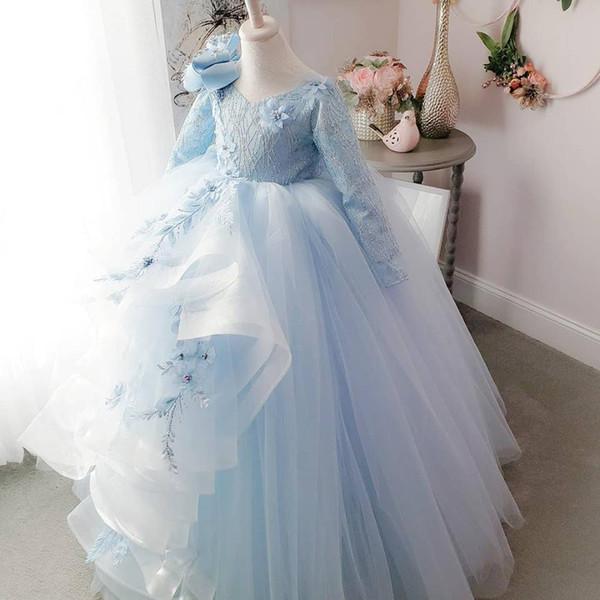 2018 Backless Dantel Çiçek Kız Elbise Uzun Kollu Yay Katlı Küçük Kız Gelinlik Vintage Pageant elbise Törenlerinde F054