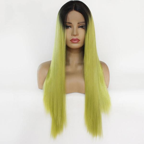 Acheter Ombre Jaune Vert Perruques Cheveux