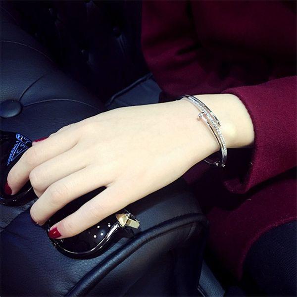 2019 Simple Titanium Steel Stainless Steel nails Bracelet Silver Gold Crystal Elegant Bracelets Bangles Punk for Women Men Best Gift Jewelry