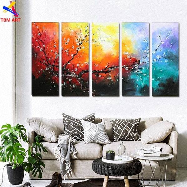 The Plum Blossom Canvas Painting Handmade Modern Abstract Oil Painting on Canvas Chinese Flower Oil Painting No Framed JYJLV199