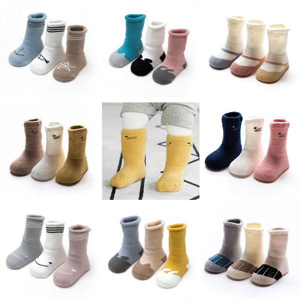 Winter-Baumwollbaby-Socken warme Fleece-Neugeborene Säuglingssocken-Baby-Bein-Wärmer Breathable Antibeleg 0-3Y 3pcs / lot