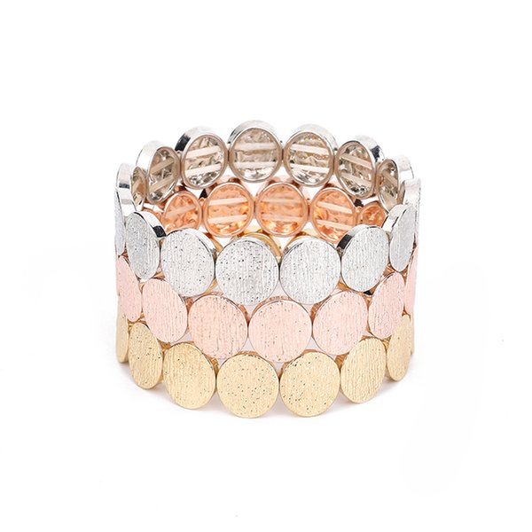 3Pc Classic colorful Round Rose Gold cGem Multilayer Detachable Bracelet Set Women Girl Fashion Party Jewelry Gift