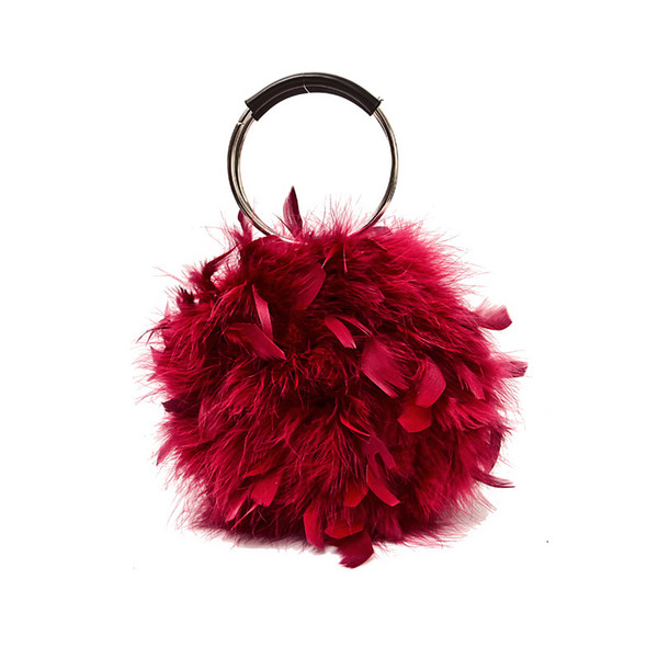 2019 new ostrich feather personality small bag female creative ring hand bag chain messenger bag