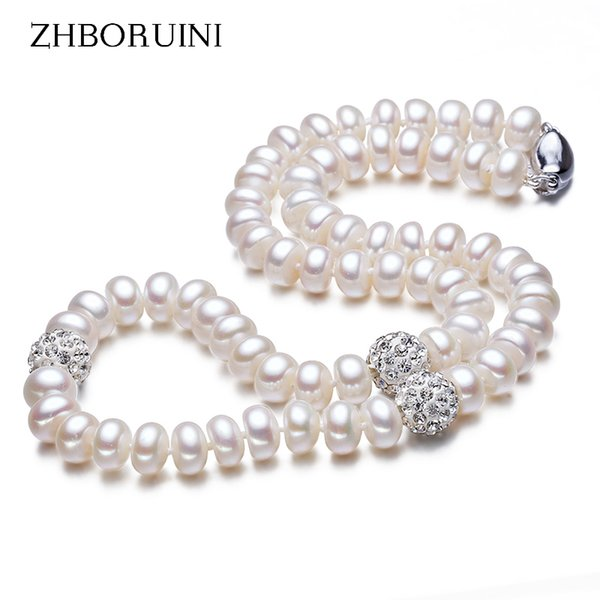 ine Necklaces ZHBORUINI 2019 Pearl Necklace 925 Sterling Silver Jewelry For Women 8-9mm Crystal Ball Natural Freshwater Pearls Pearl Jew...