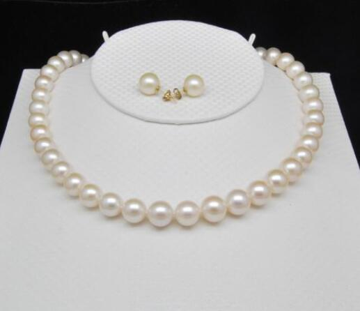 noble women gift GOLD CLASP Natural Double strand GW Natural white 9.5-9mm pearl necklaces&earring