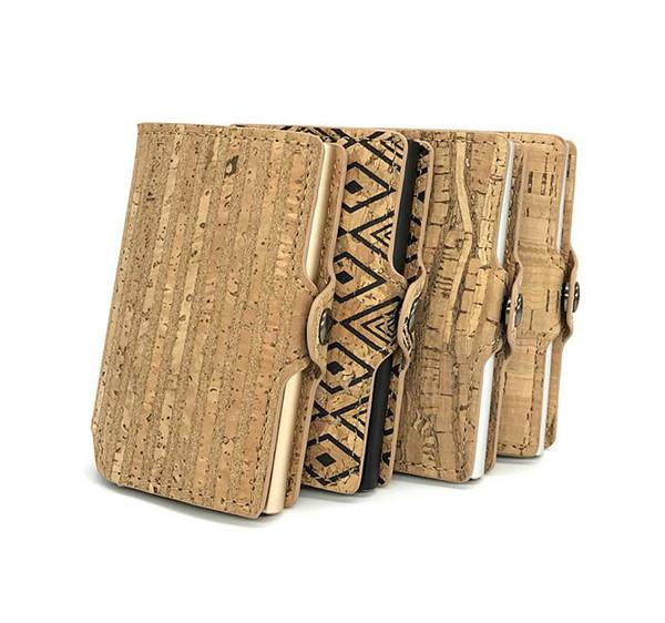 Casekey Vegan Leather Natural Cork Wallet para hombres Minimalista Anti Rfid Blocking Security Wallet Card Card