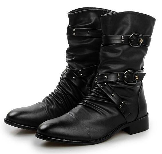 New Retro Mens Motorcycle Leather Buckle Biker Pleated Combat High Top Shoes HOT