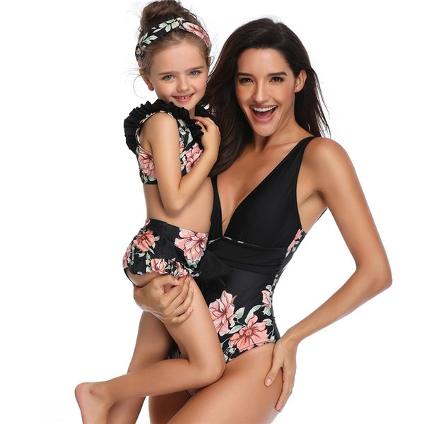 Family Matching Clothes Swimsuit Mommy and Me Clothes Tankini Swimwear Two Piece Swimsuit Mom Baby Girl Matching Outfits