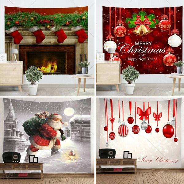 Christmas Home decor Santa Claus Hot Xmas Art Home Wall Hanging Tapestry Wall Ornamentation Christmas Wall Decor Square Tapestry