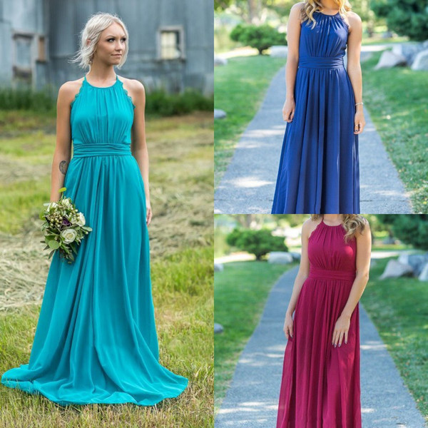 Colorful Cheap Bridesmaid Dresses Halter Satin Maid Of Honor Wedding Guest  Dress Plus Size Floor Length High Quality Party Gowns Cheap Bridesmaid ...