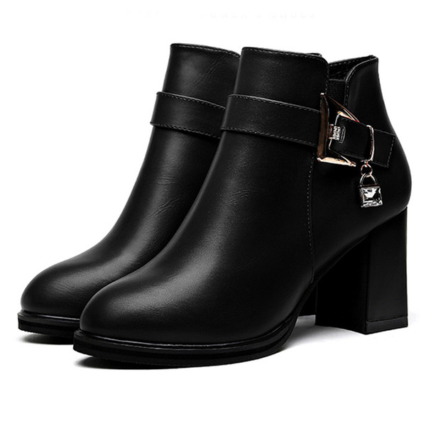 Women's Crystal ankle boots 2020 Winter Warm Ladies Fashion Round Toe Casual High Heels Single Shoes Short Boots botas feminina