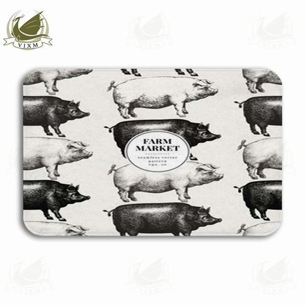 Vixm Porco Silhueta Mão Desenhada Ilustração Animal de Fazenda Do Vintage Porta de Boas Vindas Tapete de Flanela Anti-slip de Entrada Tapete De Banho De Cozinha Interior